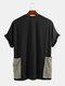 Camiseta holgada informal de manga corta para hombre decorada con bolsillos grandes - Negro