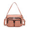 Women Multifunction Faux Leather Crossbody Bag - Pink
