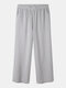 Striped Print Pocket Loose Wide Leg Casual Pants For Women - Gray