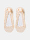 10 Pairs Women Polyester Cotton Solid Lace Shallow Mouth Invisible Breathable Boat Socks - Dark Skin Color