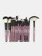 18 Pcs Makeup Brushes Set Eye Shadow Eyebrow Eyelashes Fan-Shaped Eye Makeup Brush - Purple Rod Black Tube