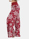 Christmas Snow Print Casual Loose Pants for Women - Red