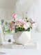 1PC Potted Rose Artificial Flower Iron Pot Bonsai Home Office Garden Decor Artificial Green Leave Plant Decoration - Pink