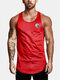 Mens Simple Solid Color Casual Breathable Sleeveless Tank Top - Red
