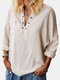Solid Color V-neck Casual Long Sleeve Loose Cotton Blouse For Women - Beige