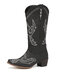Women Casual Bird Electric Embroidery Pattern Slip On Mid-Calf Cowboy Boots - Black