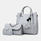 Women 3Pcs Tassel Multi-function Handbag Crossbody Bag  - Grey