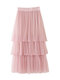 Solid Color Mesh Pleated Long Casual Skirts for Women - Pink