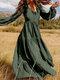 Floral Print Long Sleeves V-neck Casual Dress For Women - Dark Green