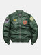 Mens Letter Pattern Embroidered Loose Stand Collar Bomber Jacket - Green