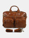 Men Vintage 14 inch Full Grain Leather Laptop Briefcases for Men Business Travel Messenger Bag with Metal Zipper Brown - Yellow