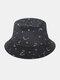 महिला कढ़ाई सितारे और चंद्रमा पैटर्न प्रिंट आरामदायक Soft आउटडोर यात्रा बाल्टी टोपी - काली