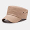 Men's Fashion Simple Pure Cotton Flat Hat Outdoor All-Match Solid Color Military Hat - Khaki