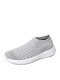 Large Size Women Knitted Fabric Comfy Slip On Breathable Casual Sock Sneakers - Gray