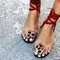 Women Leopard Ring Toe Lace Up Flat Casual Rome Sandals - Red