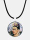 Cartoon Printed Men Women Necklace Adjustable Woman Wearing Flowers Glass Pendant Leather Necklace - #04