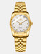 Adjustable Couple Business Watch Inlaid Diamonds Dial Luminous Waterproof Quartz Watch - Beige