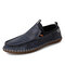 Menico Men Cow Leather Hand Stitching Non Slip Casual Driving Shoes - Blue