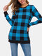 Plaid Print O-neck Long Sleeve Plus Size Casual Blouse for Women - #03