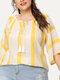 Striped Tassel Loose Plus Size Casual Blouse - Yellow