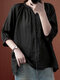 Solid Button V-neck 3/4 Sleeve Loose Women Blouse - Black