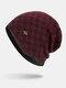 男性冬Plusベルベットコントラストチェック柄パターン屋外ニット暖かいビーニー帽子 - ワインレッド