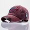 Men Adjustable Embroidery Washed Cotton Hat Outdoor Sports Climbing Baseball Cap - Wine Red
