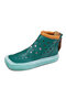 Casual Hollow Candy-colored Platform Shoes Soft Square Toe Comfy Women's Short Boots - Green