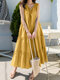Folds Knotted Patchwork Sleeveless Solid Color Casual Dress For Women - Yellow