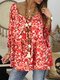 Floral Print 3/4 Sleeve Layers Loose Plus Size Blouse - #2