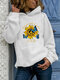 Butterfly Flower Print Casual Long Sleeve Hoodie For Women - White