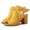 SOCOFY Stylish Suede Solid color Hollow Peep Toe Buckle Strap High Heel Sandals - Yellow