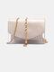 Women 2PCS Metal Tassel Clear Bag With Inner Pouch Crossbody Bag - Beige