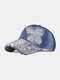 Women Denim Rhinestone Decorated Butterfly Pattern Broken Hole Casual Sunshade Baseball Caps - #03
