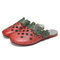 SOCOFY Floral Comfy Leather Cut out Round Toe Slip-on Mules Flat Shoes - Red