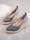 Women Casual Ombre Sequined Slip-On Pointed Toe Wedges Heel Espadrille Loafers Shoes - Black