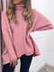 Casual Solid Color High Neck Plus Size Winter Sweater for Women - Pink