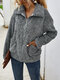 Lapel Solid Color Plush Long Sleeve Casual Coat For Women - Gray