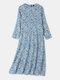 Women Vintage Floral Print O-neck Pocket Long Sleeve Maxi Dress - Light Blue