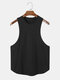 Mens Sporty Solid Color Fitness Low Cut Tank Top - Black