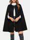 女性のための無地の革ボタンカジュアルケープコート - 黒