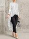 Print Polka Dot High Low Long Sleeve Plus Size Blouse - White