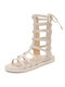 Women Solid Color Hollow-out Shoes Women's High-top Sandal Boots Gladiator Sandals - Beige