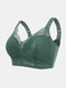 Women Lace Trims Wireless Full Cup Emulsion Lightly Lined Bra - Green