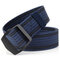 Mens Long Weave Canvas Elasticity Belt Outdoor Slider Buckle Durable Adjustable Ring Belt - Dark Blue