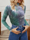 Tie-dyed Print High-collar Long Sleeve Casual Base Shirt for Women - Green