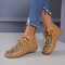 Large Size Women Leopard Printed Vamp Lace-up Hand-stitched Boots - Yellow
