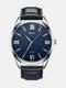 Vintage Men Watch Genuine Leather Band Large Dial Waterproof Quartz Watch - Blue