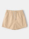 Lightweight Solid Color Shorts Beach Surfing Quick Drying Loose Casual Jogging Shorts for Men - Beige