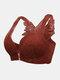 Plus Größe Wireless Rose Stickerei Rückseite Vorderseite Verschluss Spitze Thin Gather Bequeme BHs - braun